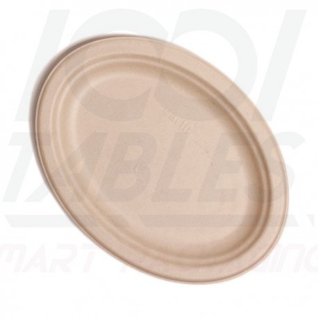 Assiette Fibre Ovale Marron 260*190mm Premium