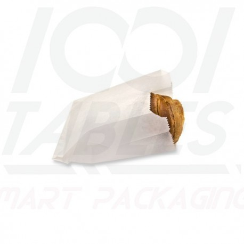 Sac Croissants et Brioches Kraft Blanc Neutre 120*70*170mm