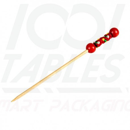 Pic Brochette Bambou Perle Rouge 120mm