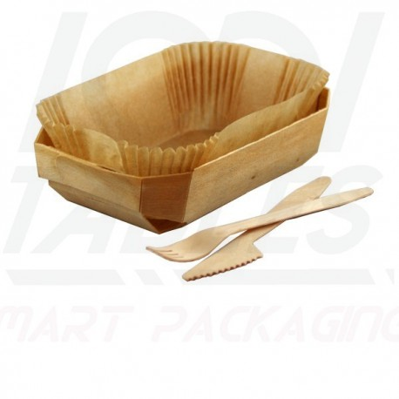 Barquette Snacking et Cuisson Bois 185*110*40mm