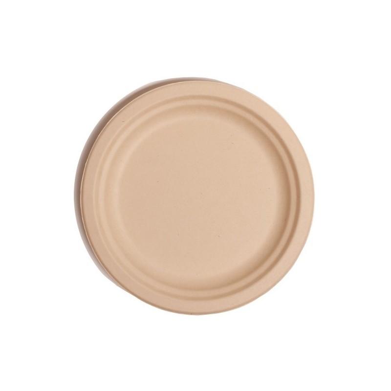 Assiette Fibre Ronde Marron 230mm Premium